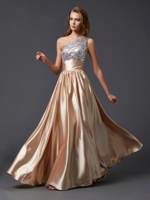 A-linje One-Shoulder Long Champagne Balklänningar with Glitter