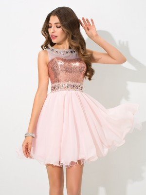Chiffong Sheer Neck Kort/mini Rosa Homecoming Klänningar