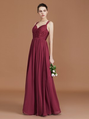 A-Line/Princess Lace Sweetheart Chiffon Ruched Floor-Length Bridesmaid Dresses