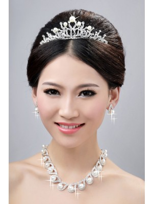 Charming Alloy Clear Crystals Pearls Wedding Headpieces Necklaces Earrings Set