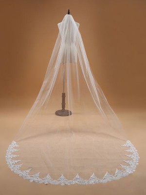 Elegant Tyll With spets Wedding Veils