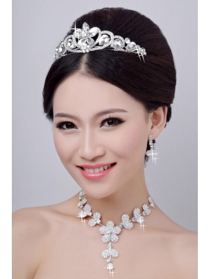 Hot Sale Alloy Clear Crystals Flower Wedding Party Earrings Set