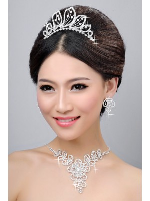 Hot Sale Beautiful Alloy Clear Crystals Wedding Party Earrings Set