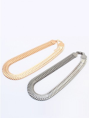 Occident Personality Metallic thick chains Short Fashion Necklace