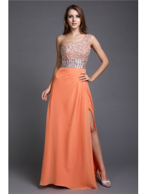 Slida One-Shoulder Golvläng Orange Balklänningar