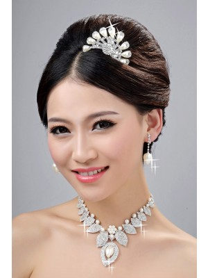New Style Alloy Clear Crystals Pearl Wedding Party Earrings Set