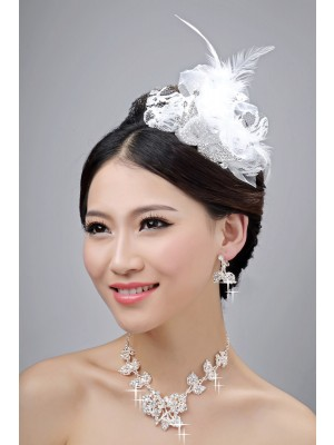 Nice Alloy Clear Crystals Flower Wedding Party Earrings Set