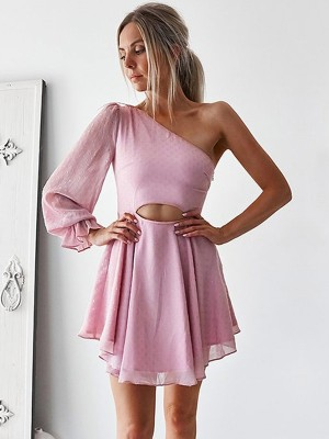 Short One-Shoulder A-linje Långa ärmar Chiffong Rosa Homecoming Klänningar