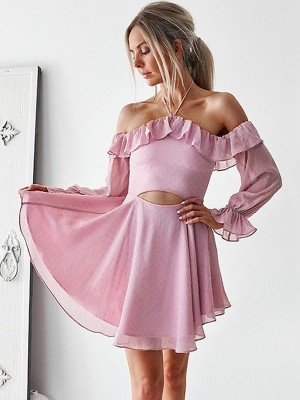 Short Off-shoulder A-linje Långa ärmar Chiffong Rosa Homecoming Klänningar