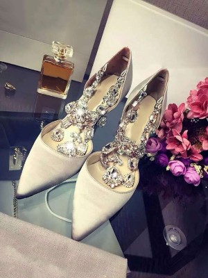 Closed Toe Satin Stiletto Heel With Rhinestone Chain High Heels