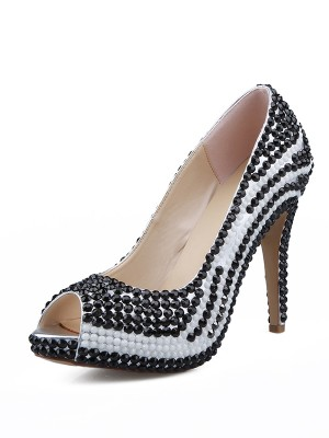 Patent Leather Peep Toe Stiletto Heel With Beading High Heels