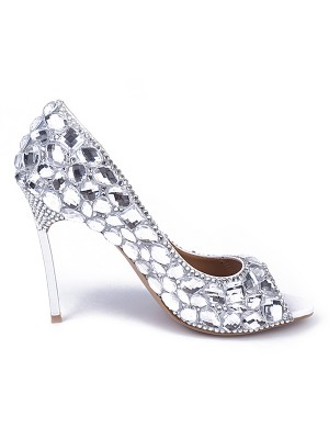 Patent Leather Peep Toe Stiletto Heel With Rhinestone High Heels