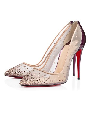 Patent Leather Closed Toe Stiletto Heel With Crystal High Heels