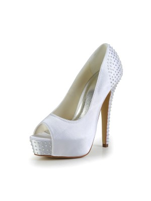 Satin Stiletto Heel Peep Toe Platform White Wedding Shoes With Rhinestone