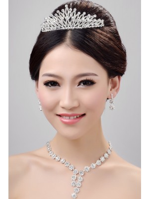 Stunning Alloy Clear Crystals Wedding Party Earrings Set