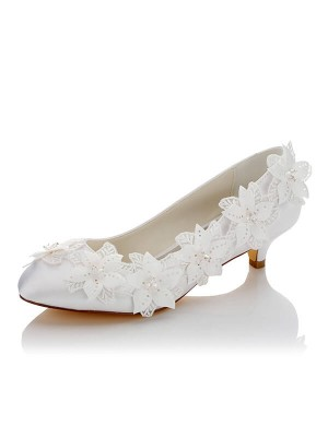 Satäng PU Closed Toe Spool Heel Wedding Shoes