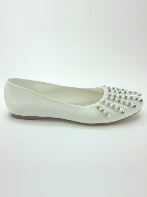 Satin Closed Toe Flat Heel Beading Wedding Shoes