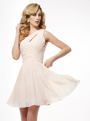 Champagne One-Shoulder Chiffong Kort/mini Homecoming Klänningar