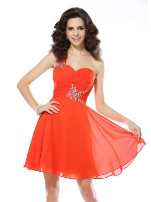 Chiffong One-Shoulder Kort/mini Orange Homecoming Klänningar