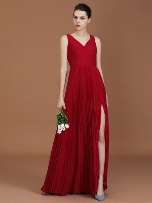 A-Line/Princess Sleeveless Ruched V-neck Floor-Length Chiffon Bridesmaid Dresses