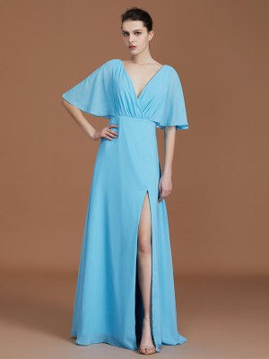 A-Line/Princess V-neck 1/2 Sleeves Floor-Length Chiffon Bridesmaid Dresses