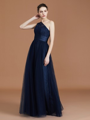 A-line/Princess One-Shoulder Lace Tulle Sleeveless Floor-Length Bridesmaid Dresses