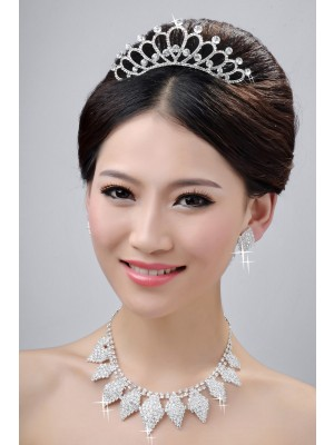 Alloy Clear Crystals Wedding Party Earrings Set