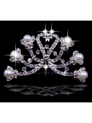 Elegant Czech Rhinestones Pearls Wedding Headpieces