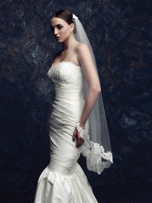 Elegant Tulle With Lace Bridal Veils