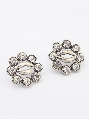 Occident Metallic Personality Hyperbolic Lips Stud Fashion Earrings