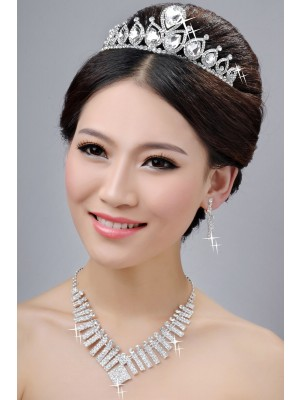 New Style Alloy Clear Crystals Wedding Party Earrings Set