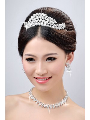 New Style Beautiful Alloy Clear Crystals Wedding Party Earrings Set