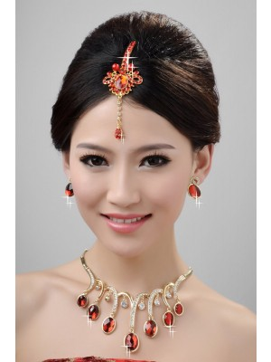 New Style Beautiful Alloy Crystals Wedding Party Earrings Set