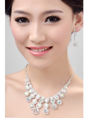 Nice Alloy Rainbow Wedding Necklaces Earrings Set
