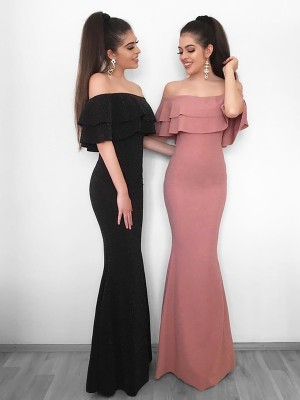 Slida Off-shoulder Golvläng Rosa Balklänningar with Rufsar
