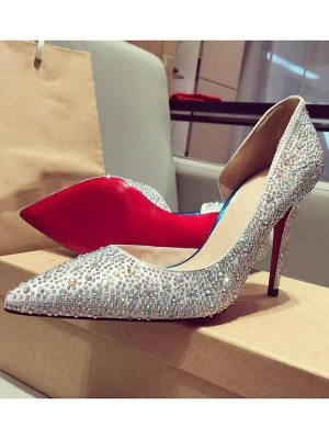 Satin Closed Toe Stiletto Heel With Rhinestone High Heels