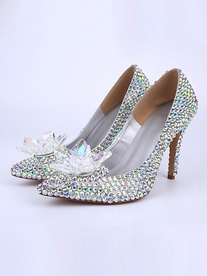 Patent Leather Cone Heel Closed Toe With Crystal Flower High Heels