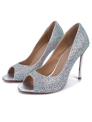Sheepskin Peep Toe Stiletto Heel With Rhinestone High Heels