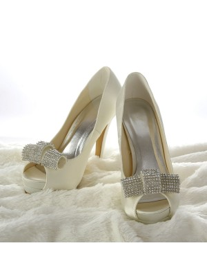 Satin Stiletto Heel Peep Toe Platform Ivory Wedding Shoes With Rhinestone
