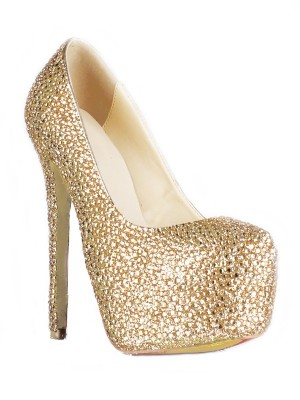 Sheepskin Stiletto Heel Closed Toe Platform With Rhinestone High Heels