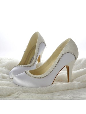 Stiletto Heels Closed-toe Beading White Wedding Shoes