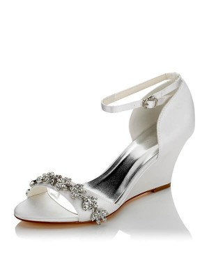 Satäng PU Peep Toe Wedge Heel Wedding Shoes