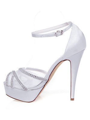 Satin Peep Toe Stiletto Heel Rhinestones Wedding Shoes