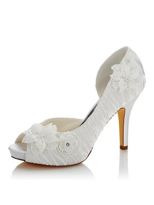 Satäng PU Peep Toe Stiletto Heel Wedding Shoes