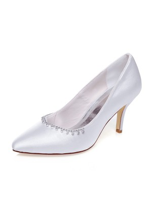 Satin Closed Toe Beading Stiletto Heel Wedding Shoes