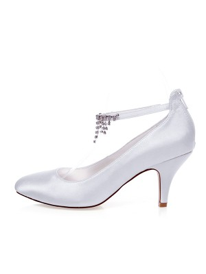 Satin Closed Toe Beading Spool Heel Wedding Shoes