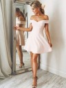 A-Line/Princess Off-the-Shoulder Sleeveless Satin Short/Mini Dresses