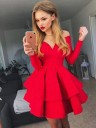Red Off-the-Shoulder Long Sleeves Homecoming Dresses